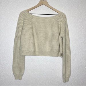 Brandy Melville | Cropped Cream Knit Sweater